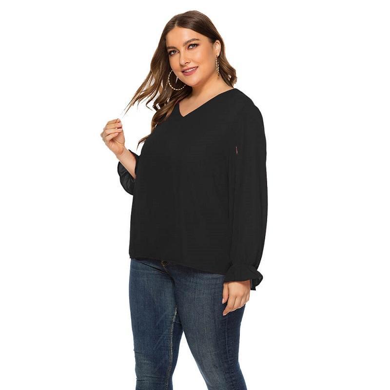 Plus Size Organza Blouse - black color