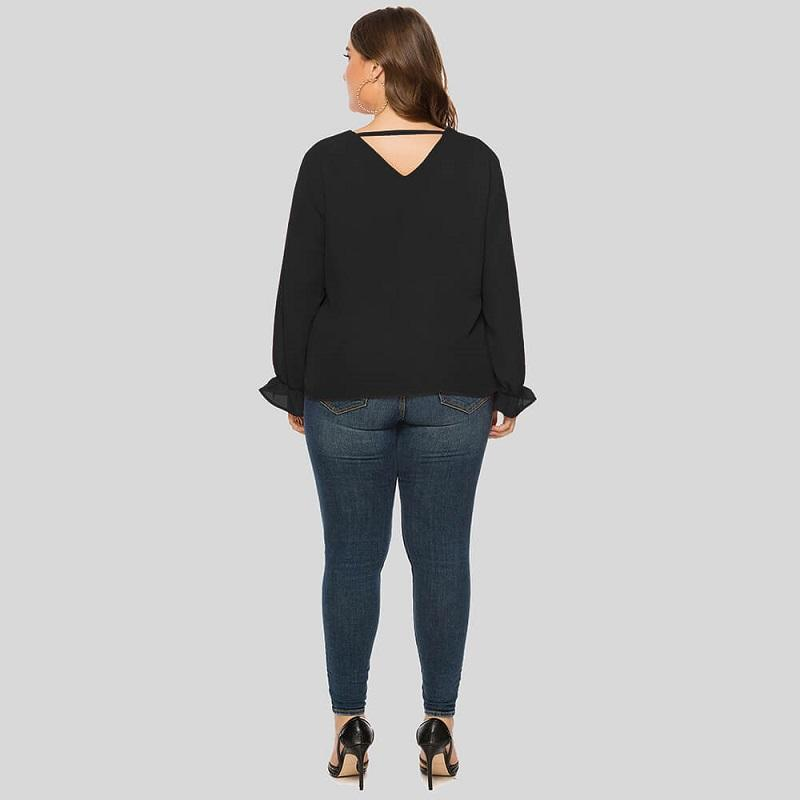 Plus Size Organza Blouse - black back