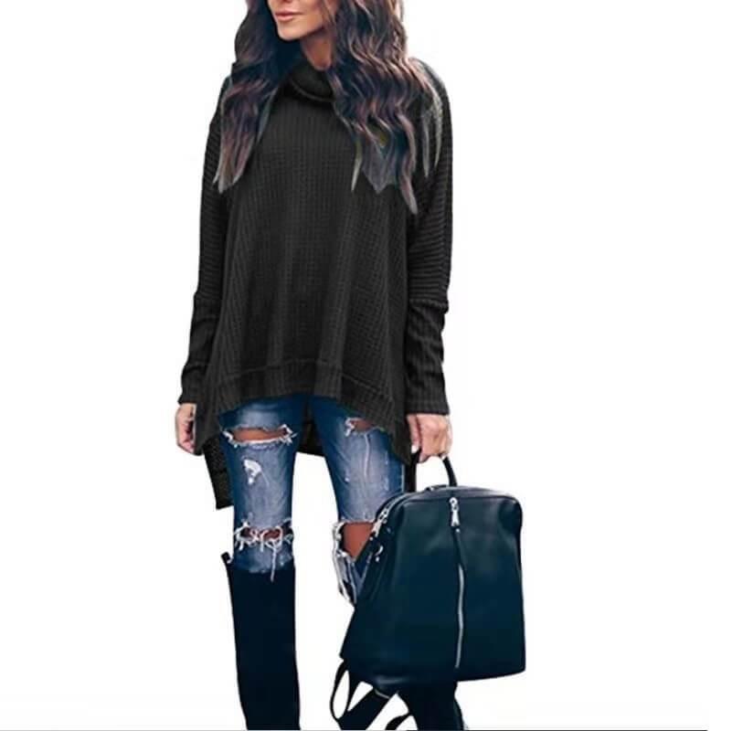 Plus Size Turtleneck Sweater - black color