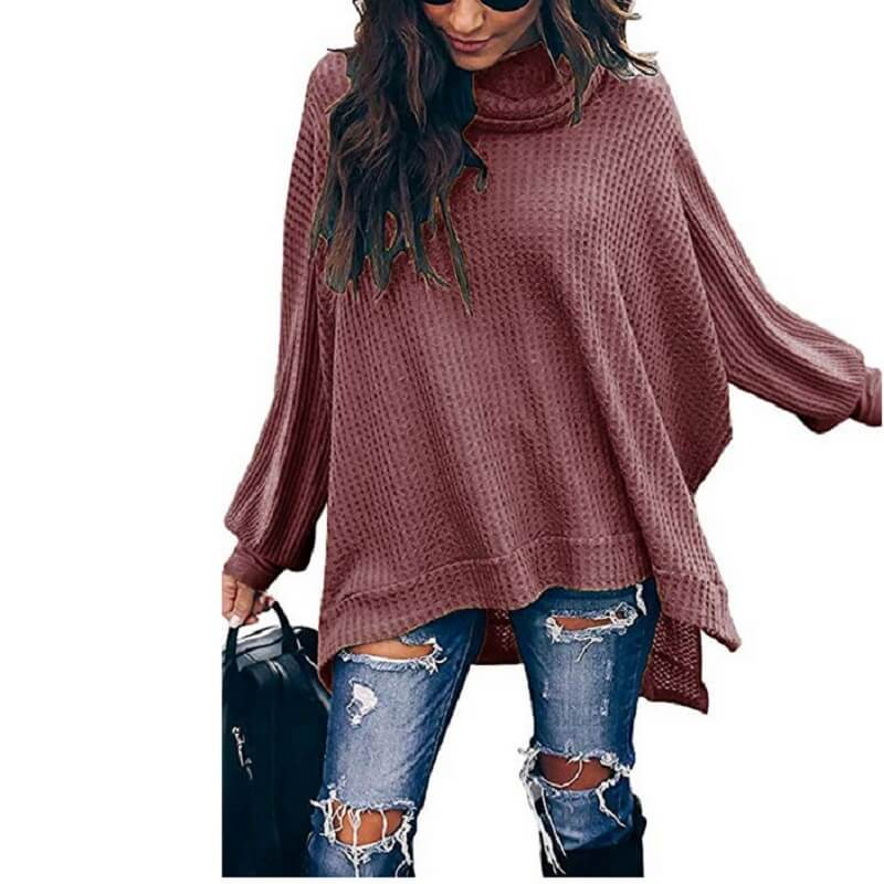 Plus Size Turtleneck Sweater - red color