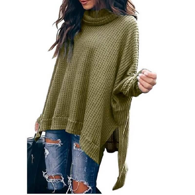 Plus Size Turtleneck Sweater - green color