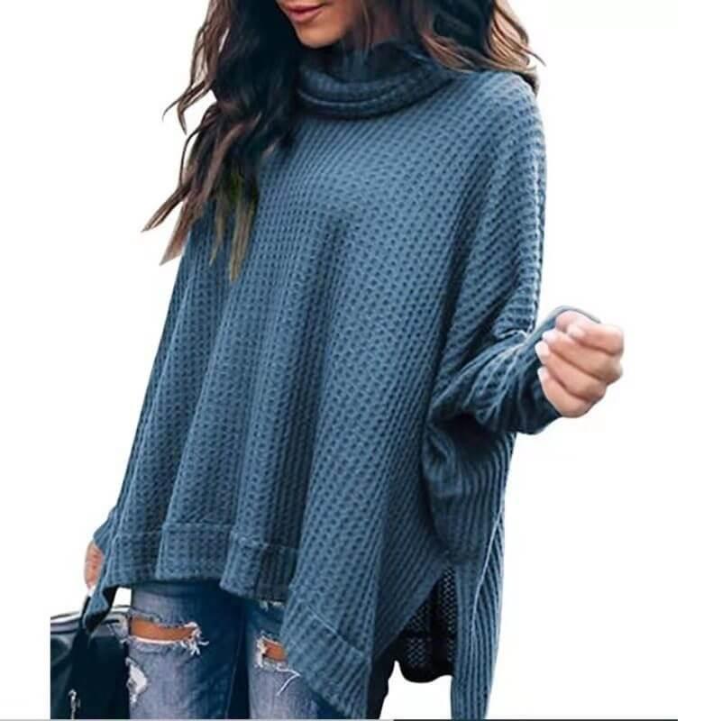 Plus Size Turtleneck Sweater - dark blue color