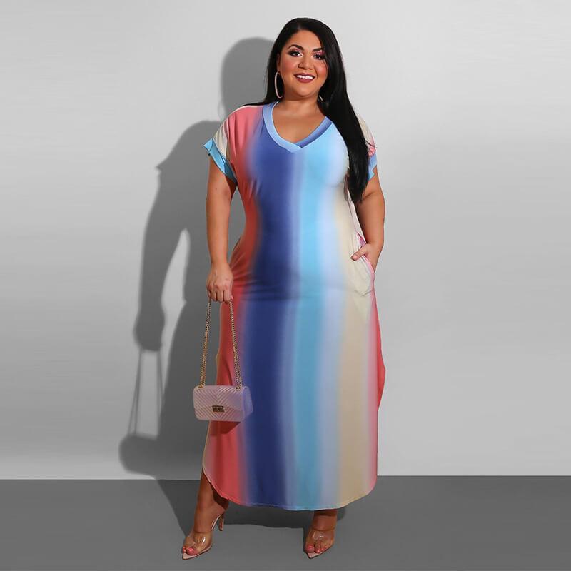 Plus Size Boutique Dresses - gradient color positive