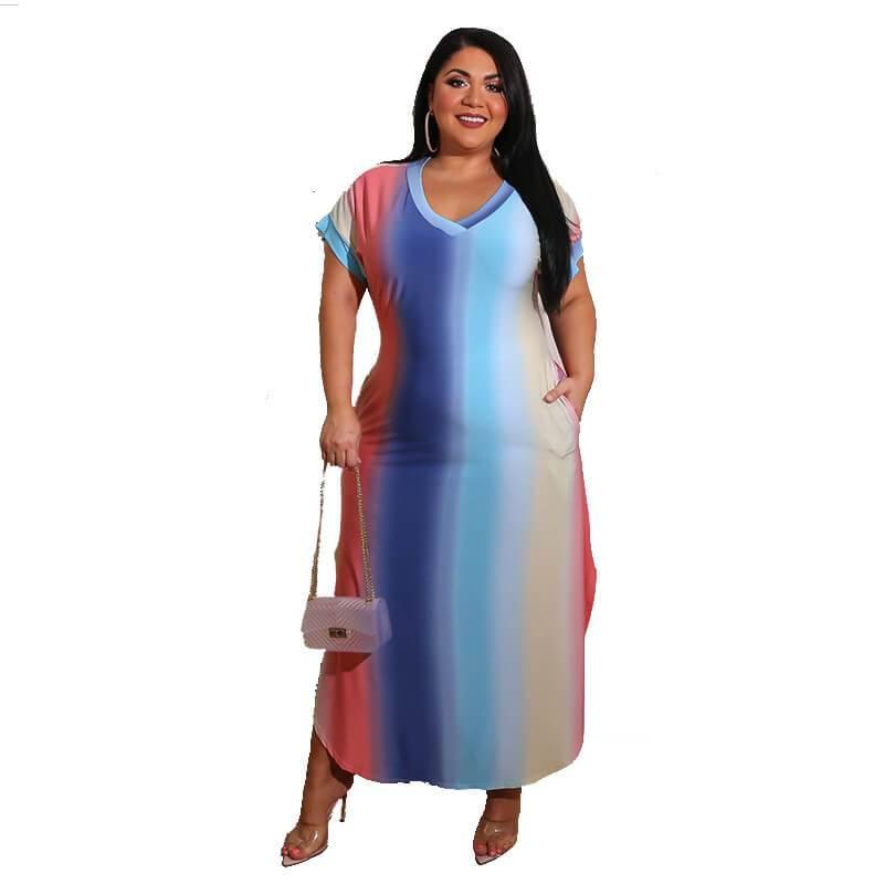 Plus Size Boutique Dresses - gradient color whole body