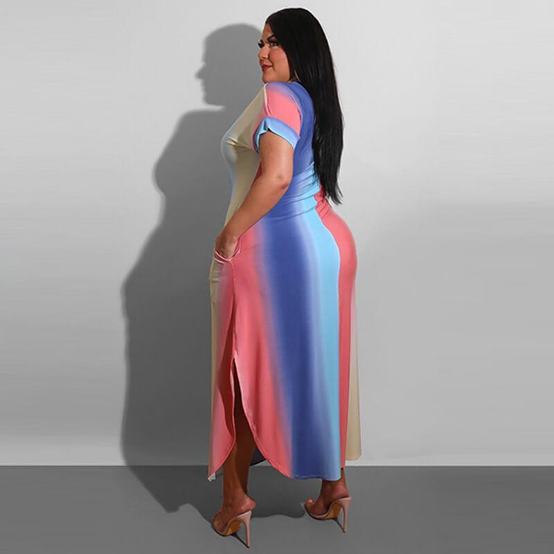 Plus Size Boutique Dresses - gradient color side