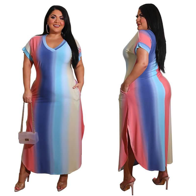 Plus Size Boutique Dresses - gradient color multi player