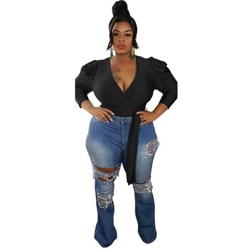 High Low Blouse Plus Size - black color