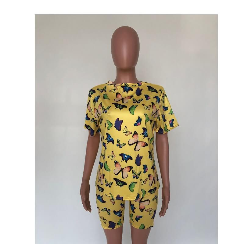 Plus Size Butterfly Print Short Set - yellow front