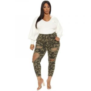 Plus Size Camouflage Jeans  - main picture