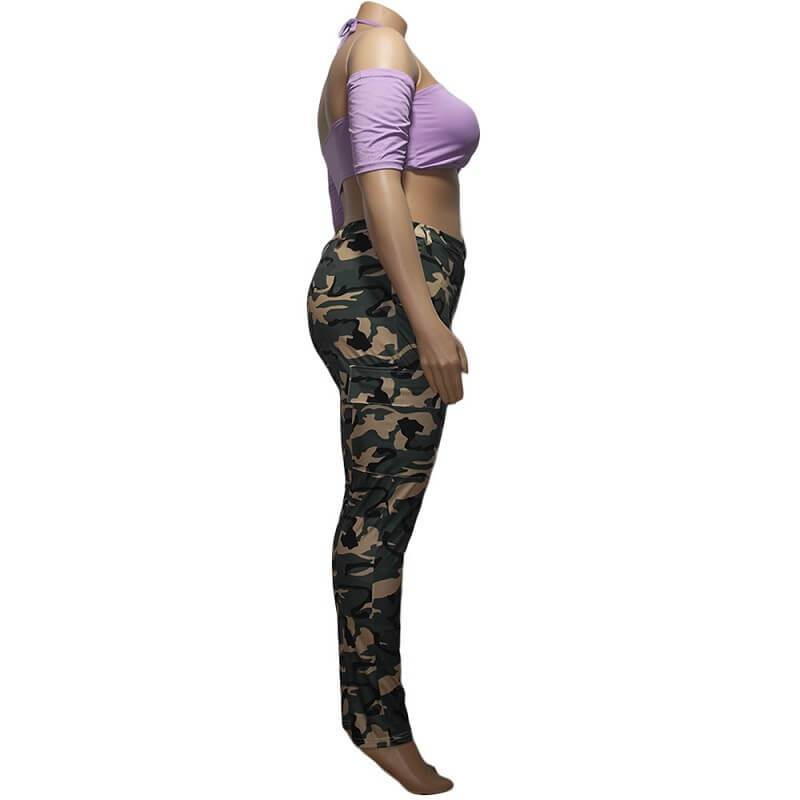 Colored Plus Size Jeans - camouflage side