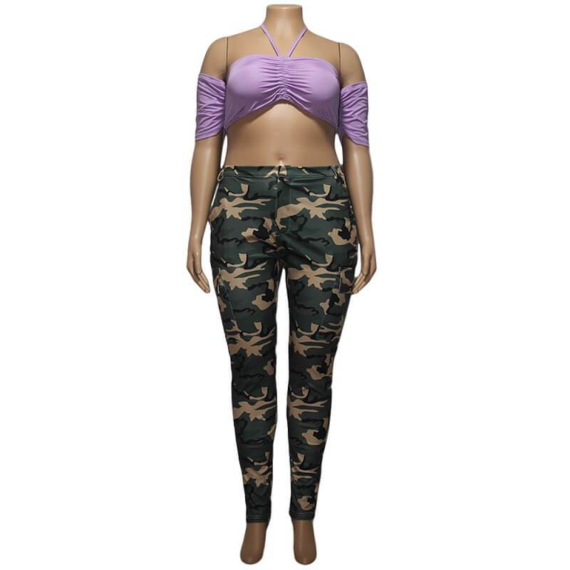 Colored Plus Size Jeans - camouflage positive