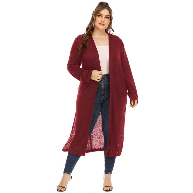 Long Trench Coat Women's Plus Size  - red color