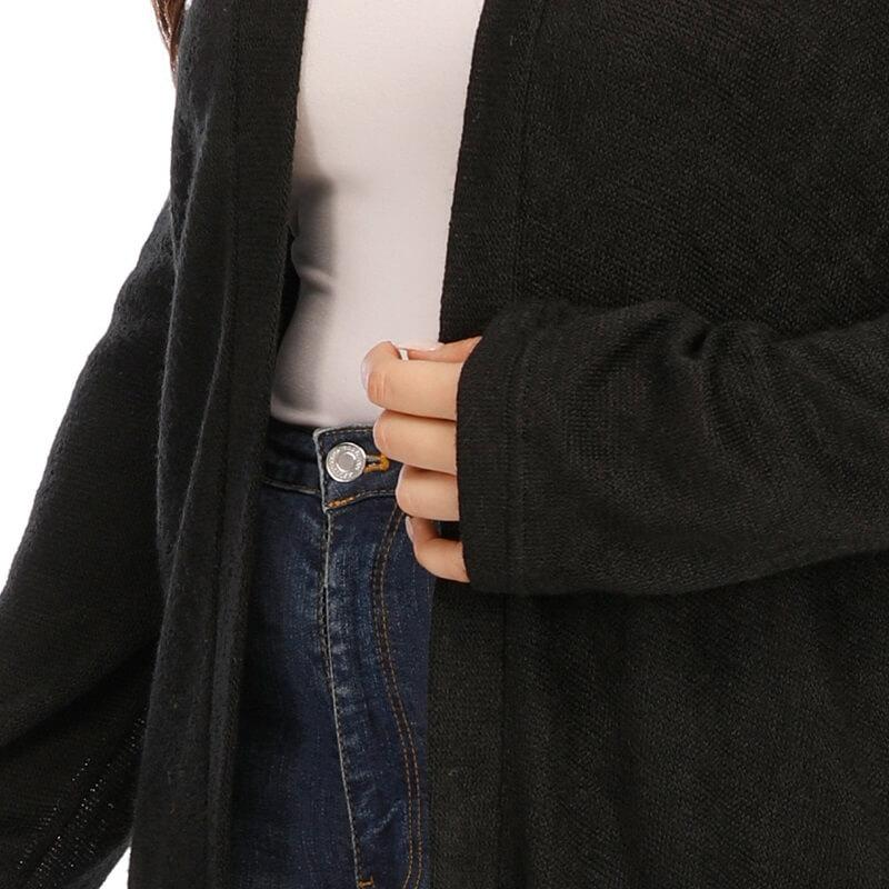 Long Trench Coat Women's Plus Size  - black cuff