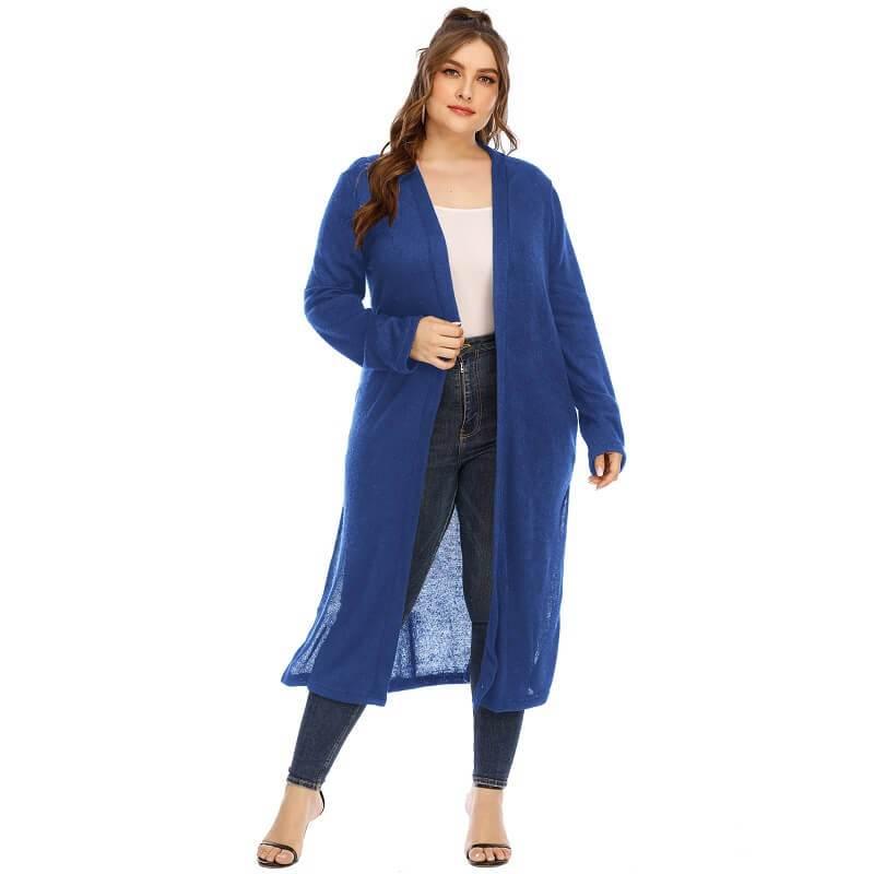Long Trench Coat Women's Plus Size  - blue color