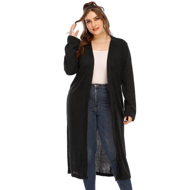 Long Trench Coat Women's Plus Size  - black color