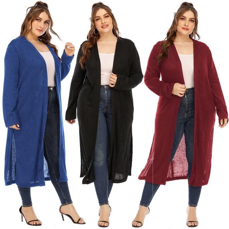 Long Trench Coat Women's Plus Size  - mian picture