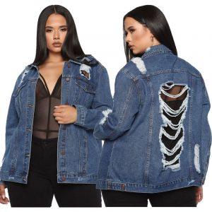 Plus Size Anorak Coat - blue mian picture