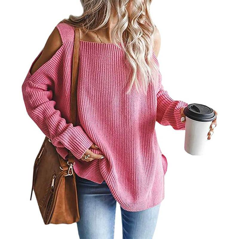 Plus Size Cold Shoulder Sweater - pink color