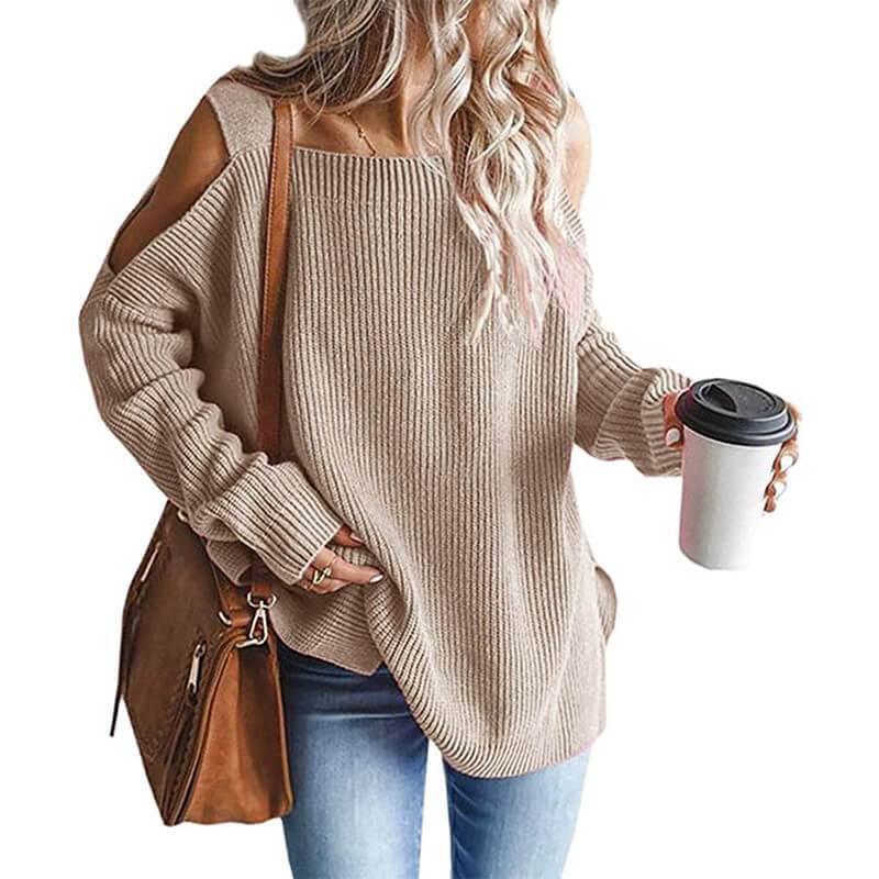 Plus Size Cold Shoulder Sweater - khaki color