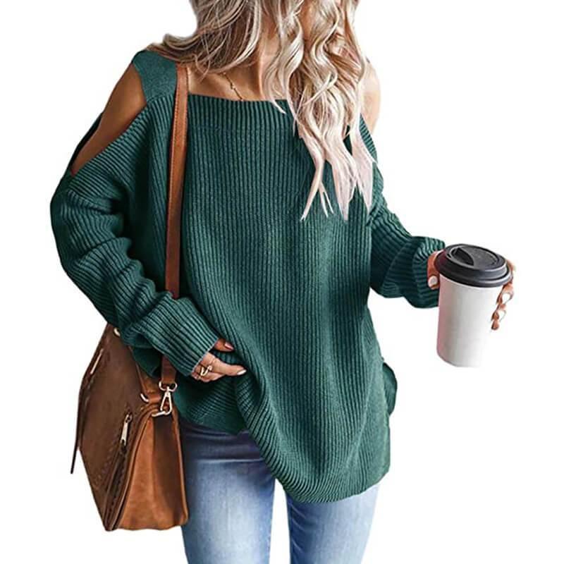 Plus Size Cold Shoulder Sweater - green color