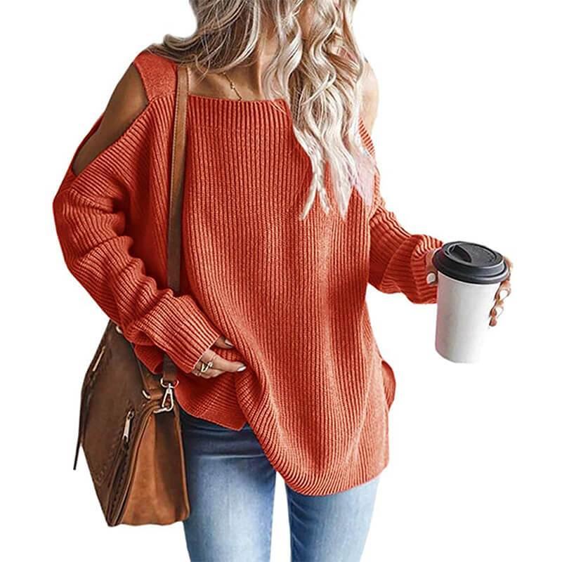 Plus Size Cold Shoulder Sweater -orange color