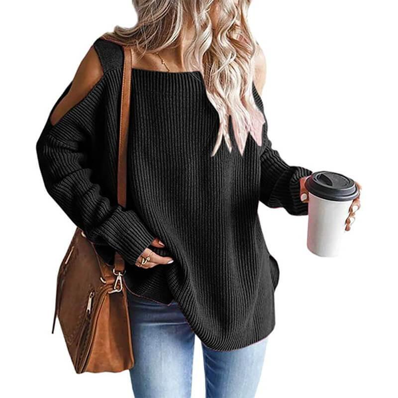 Plus Size Cold Shoulder Sweater - black color