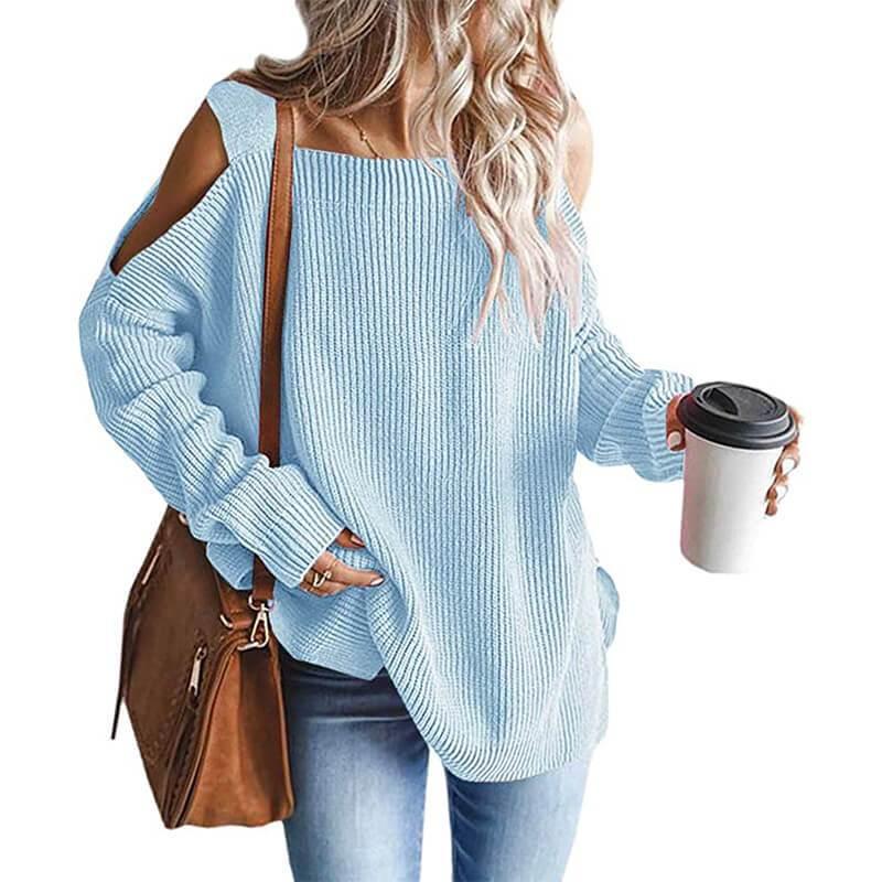 Plus Size Cold Shoulder Sweater - sky blue color