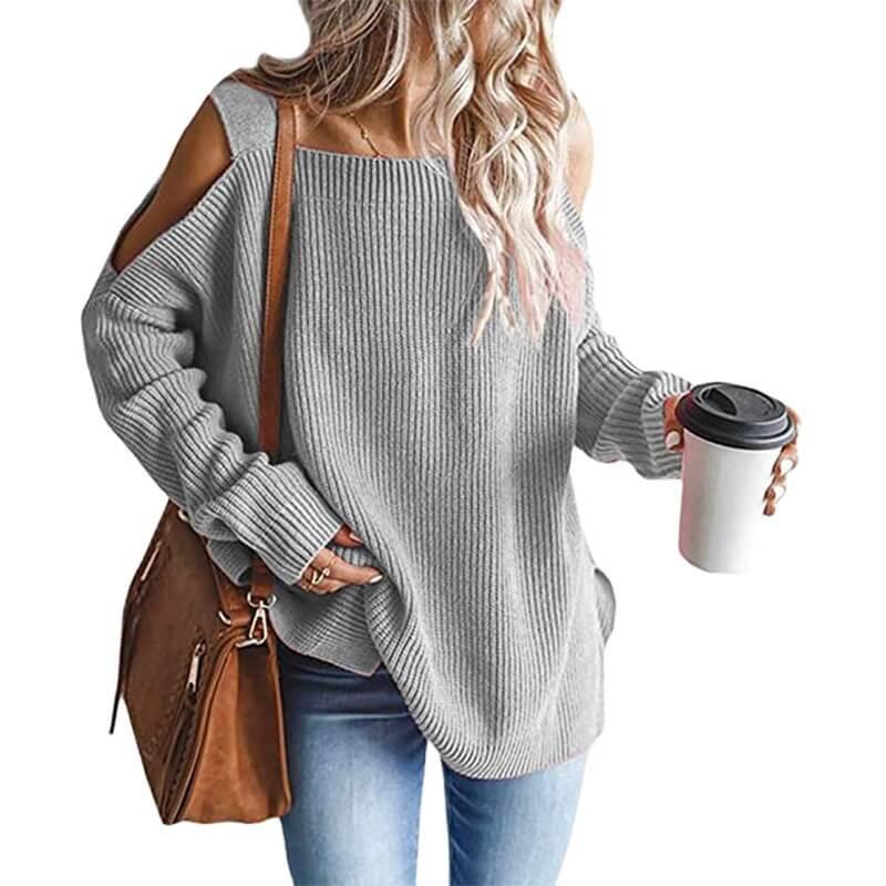 Plus Size Cold Shoulder Sweater - gray color