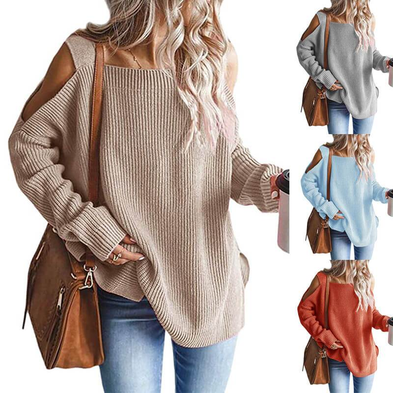 Plus Size Cold Shoulder Sweater - main picture