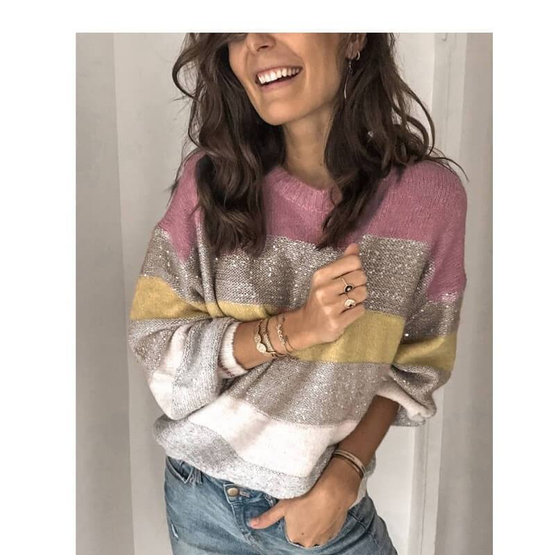 Plus Size Color Block Sweater - pink color