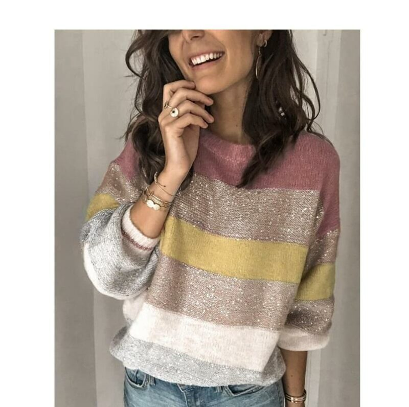 Plus Size Color Block Sweater - pink main picture