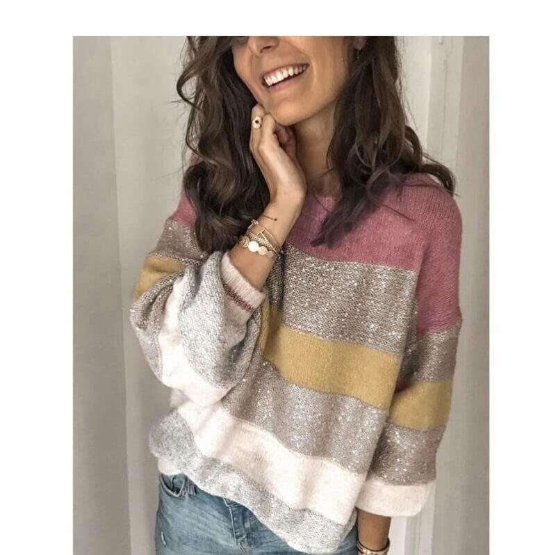 Plus Size Color Block Sweater - pink positive
