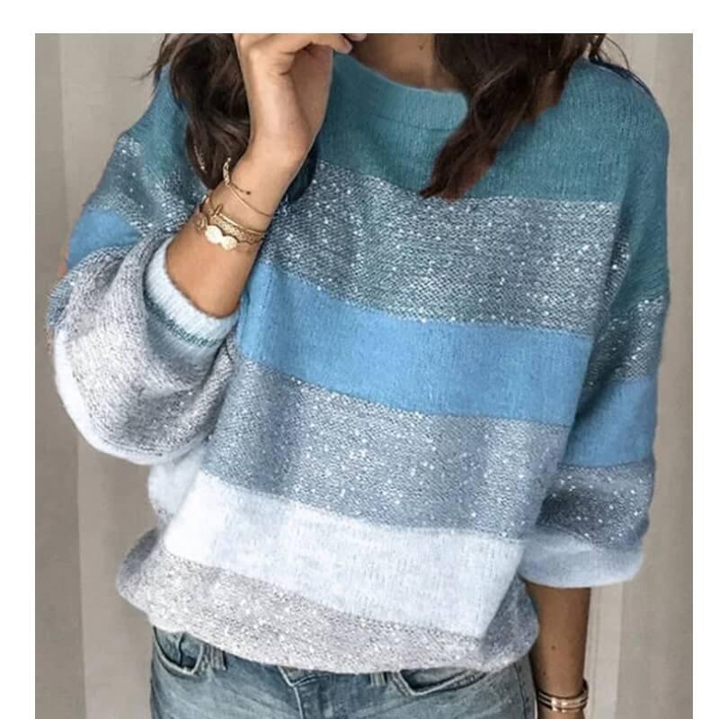 Plus Size Color Block Sweater - blue positive