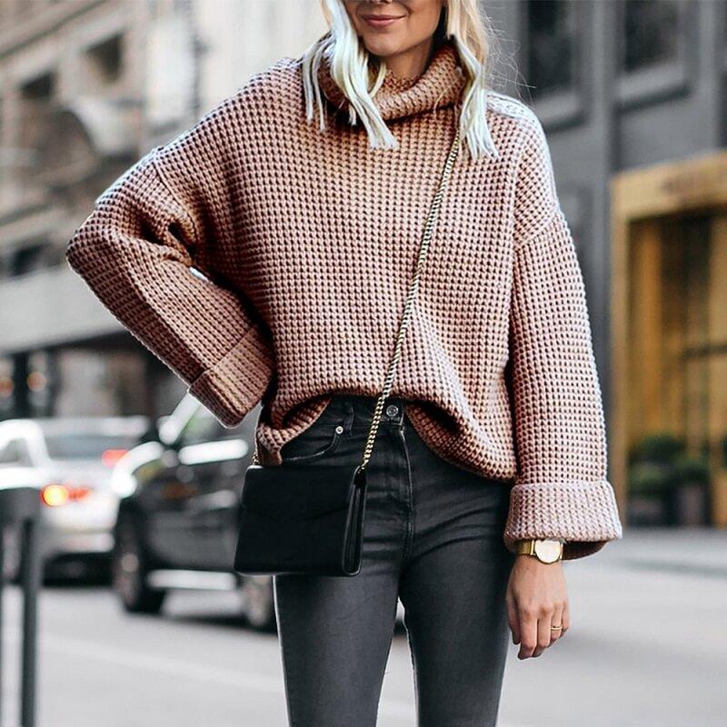 Plus Size Cowl Neck Sweater - light card color