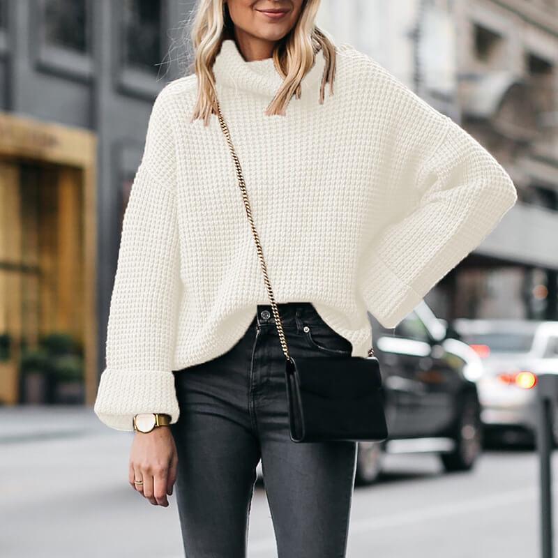 Plus Size Cowl Neck Sweater - white color