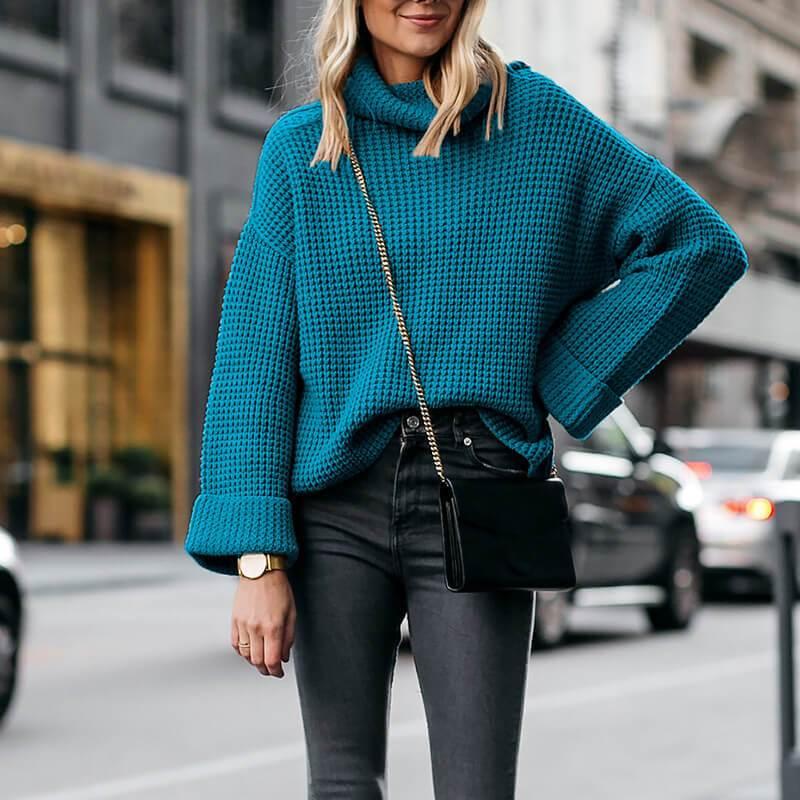 Plus Size Cowl Neck Sweater - hole blue color
