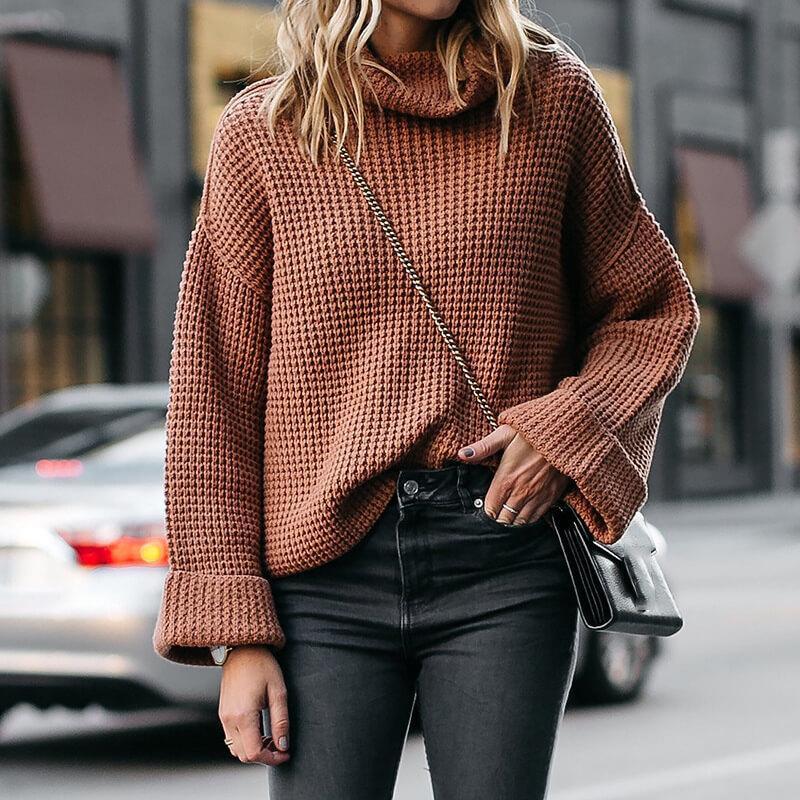 Plus Size Cowl Neck Sweater - khaki color