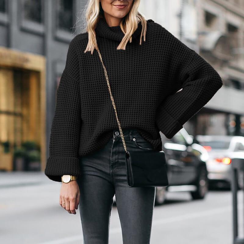Plus Size Cowl Neck Sweater - black color