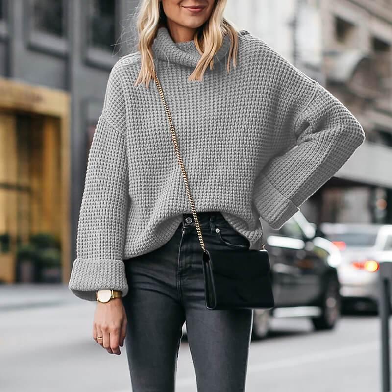 Plus Size Cowl Neck Sweater - gray color