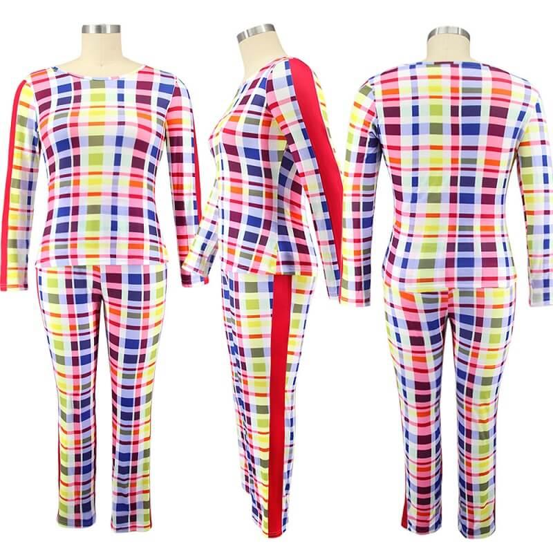 Plus Size Crewneck Tight Plaid Print Suit - colorful model picture