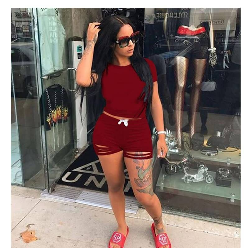 Plus Size Crop Top Skirt Set - red color