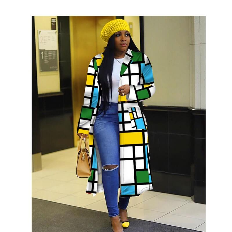 Plus Size Double Breasted Coat - yellow, green, blue color