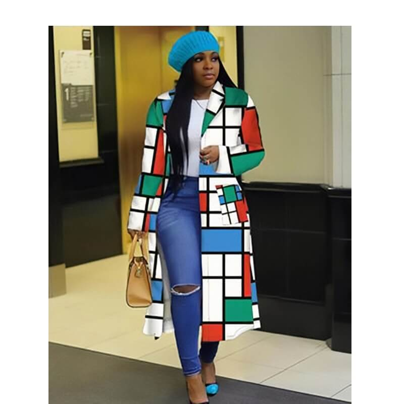 Plus Size Double Breasted Coat - blue, red, green color