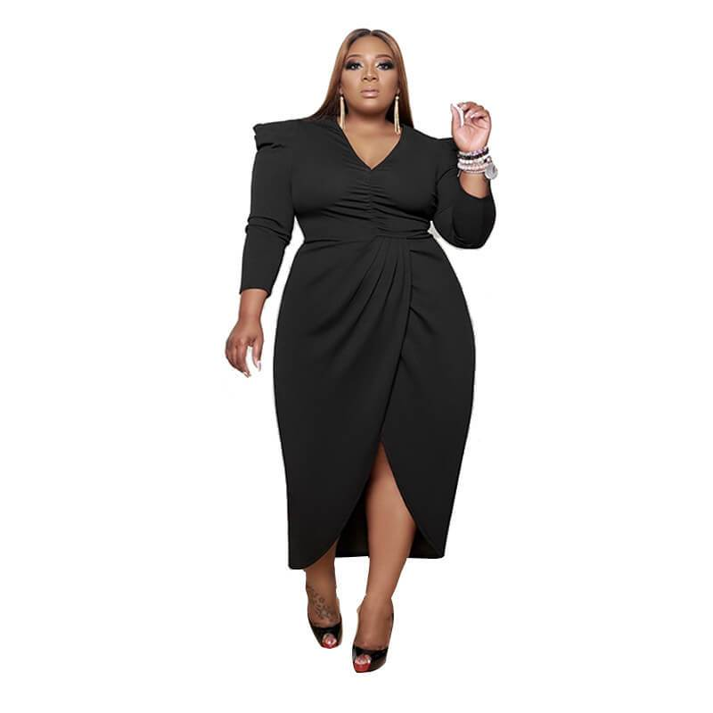 Plus Size Babydoll Dress - black color