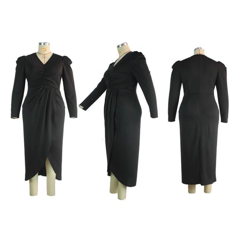 Plus Size Babydoll Dress - black model picture