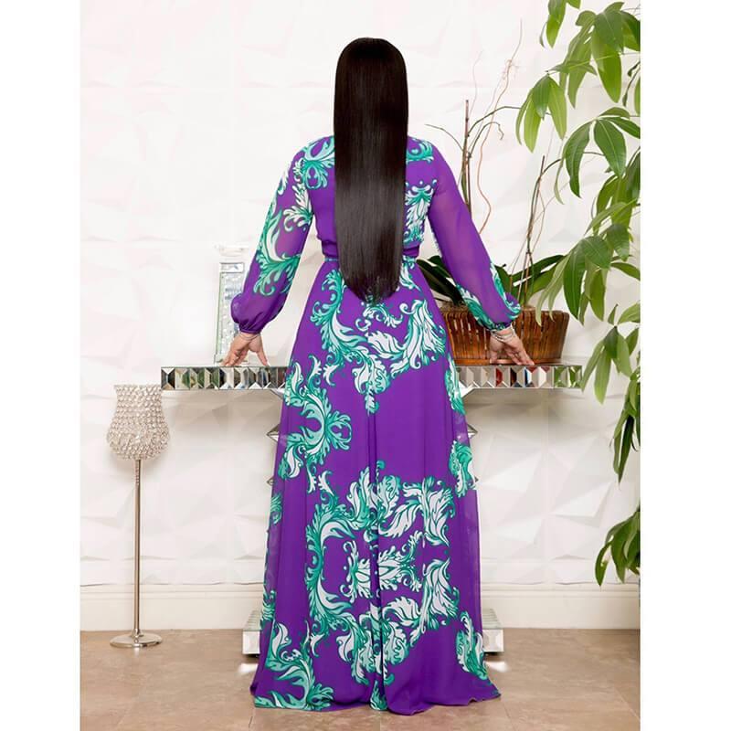 Plus Size Long Dresses - blue back
