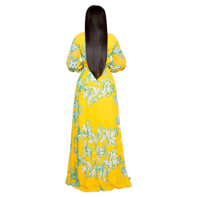 Plus Size Long Dresses - yellow back