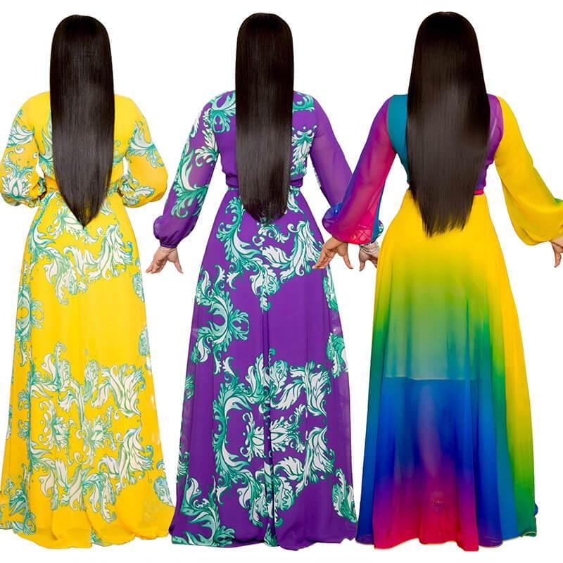Plus Size Long Dresses - three colors back