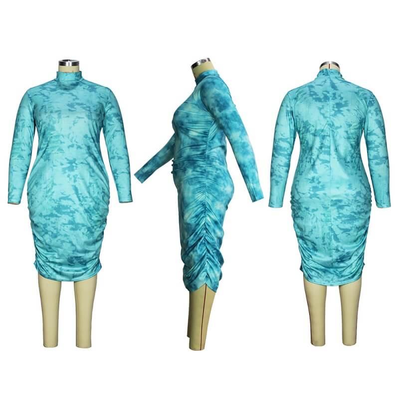 Plus Size Elegant Dresses - cyan detail image