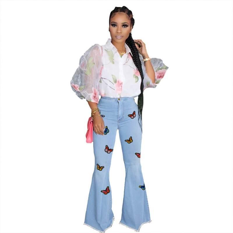 Plus Size Super Flare Jeans - blue front